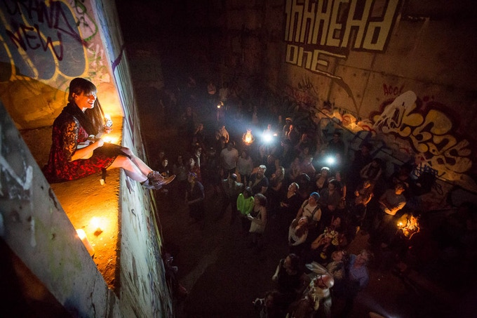 Inside an illegal party in an abandoned subway station in Manhattan. (Tod Seelie / Gothamist)