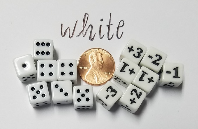 Standard Dice & CCG Dice are available in White