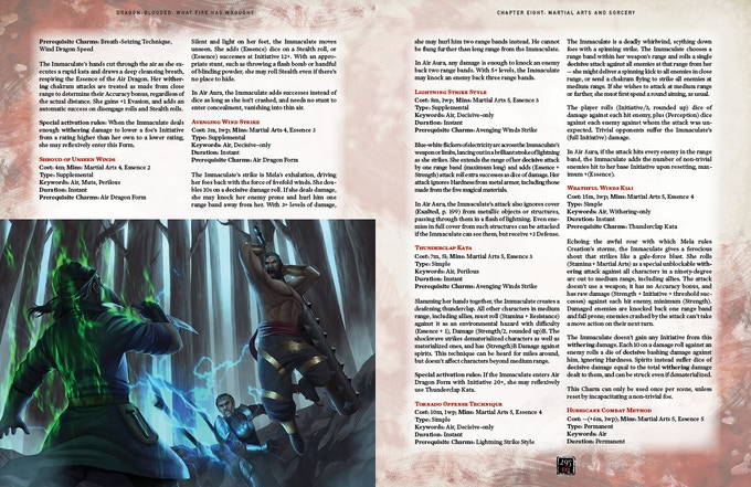 Sample Martial Arts & Sorcery page spread. Artwork and design subject to change.