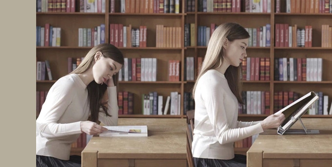 Looking down to read a book causes tension in the neck and shoulders. The shadow your head casts over an open book increases eye fatigue.