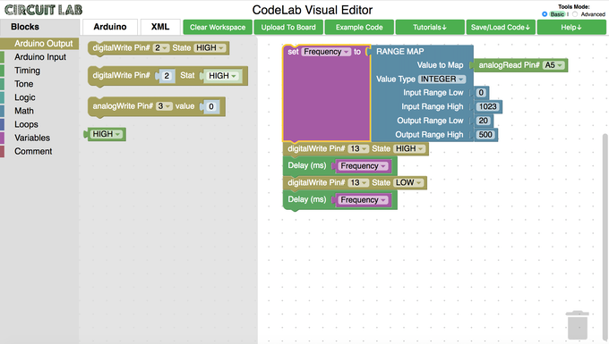 The CodeLab programming interface