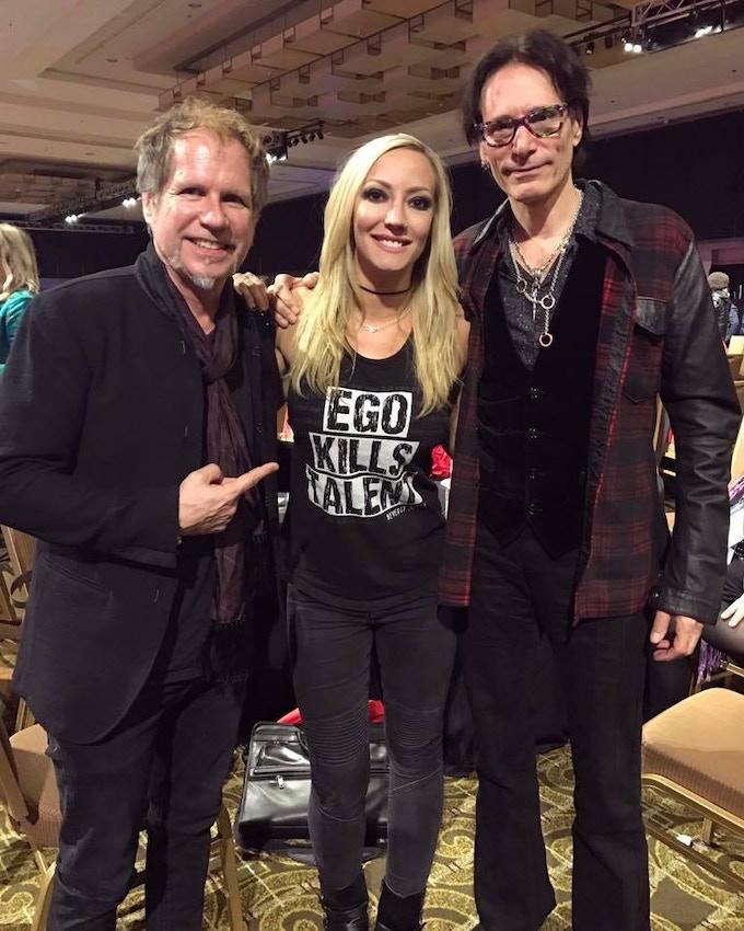 Brad Tolinski, me, and Steve Vai at the She Rocks Awards