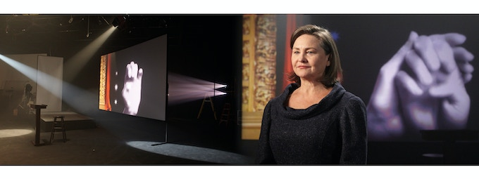 Cherry Jones speaks Keller's words while projections of tactile sign language punctuate the visual image.