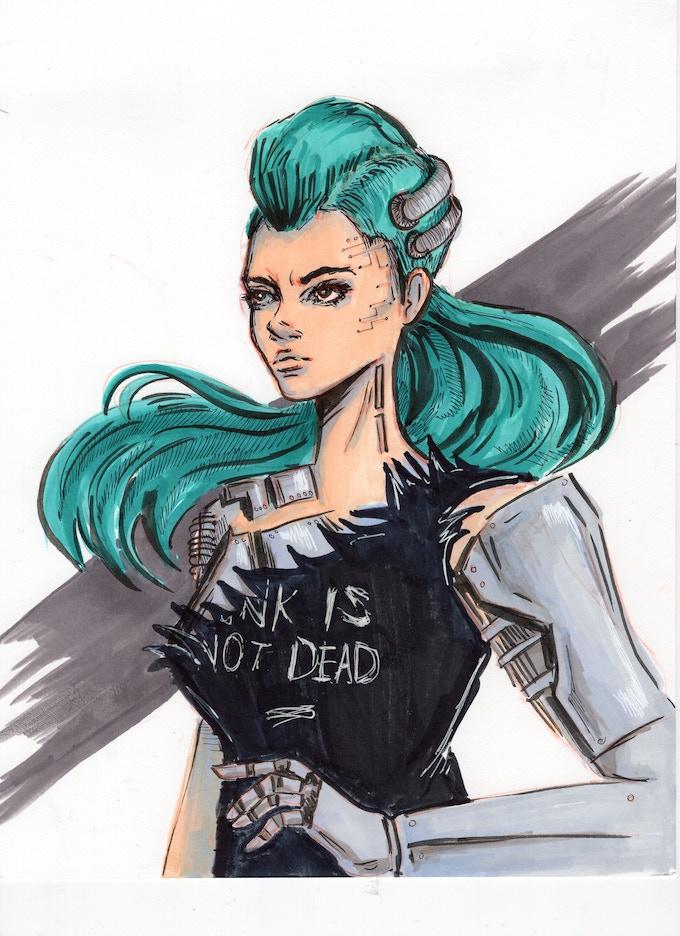 Punky cyborg character design