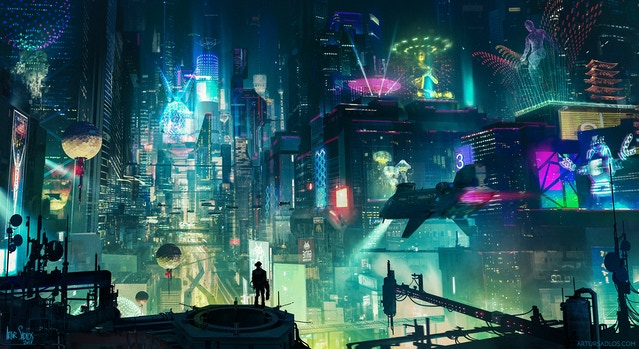 Research Art: Cyberpunk City by artursadlos