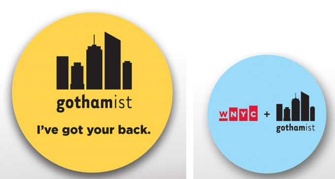 Gothamist button set for backers.