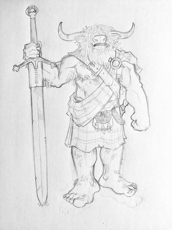 Concept art for the Highland Minotaur.