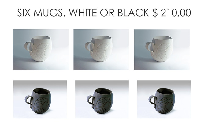 SIX PORCELAIN MUGS- YOUR CHOICE OF WHITE OR BLACK