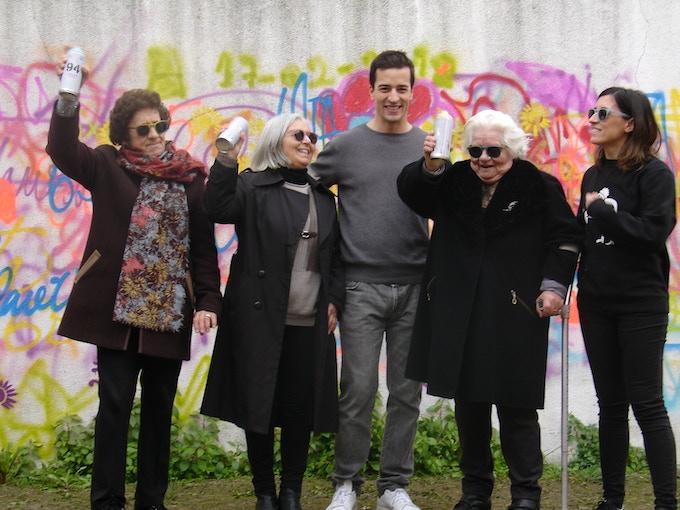 Hugo,co-fouder at SKOG, Lara, founder at LATA65, and the grannies Maria, Fátima and Laurinda