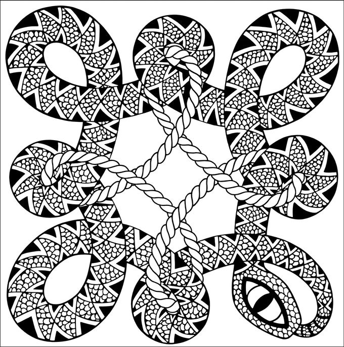 The art work for the Snake and Rope bandana. This will be silk screened onto cotton fabric. Colors will vary.