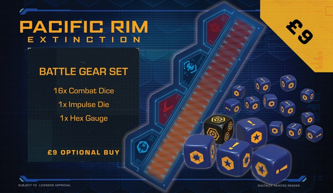 Get another full set of dice and an extra hex gauge with this optional buy.