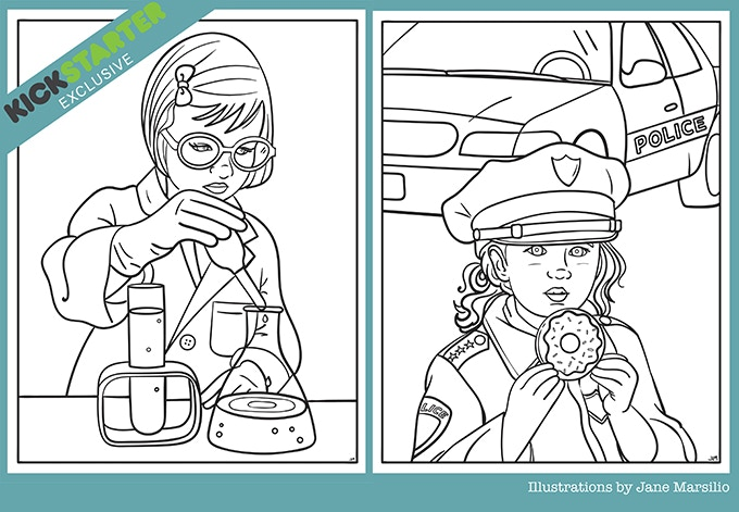 """10-Page """"Rad Girl"""" Coloring Book in PDF"""