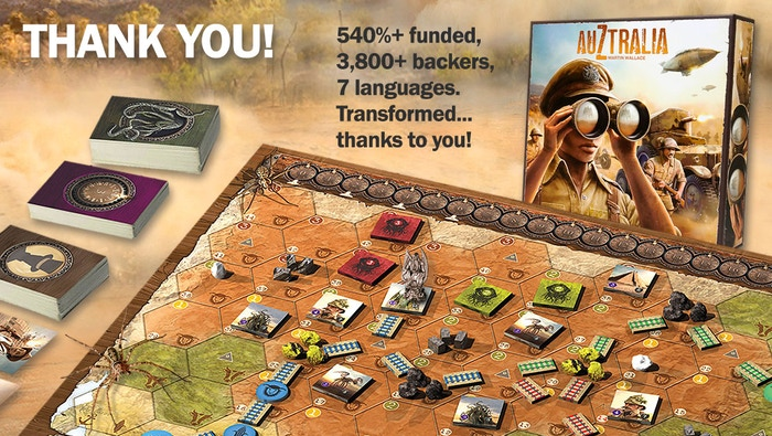 AuZtralia board game by Martin Wallace is the top crowdfunding project launched today. AuZtralia board game by Martin Wallace raised over $274210 from 3863 backers. Other top projects include POWERUP the 16bit Board Game, Yakai : Night Mystery, Werewords Deluxe Edition...