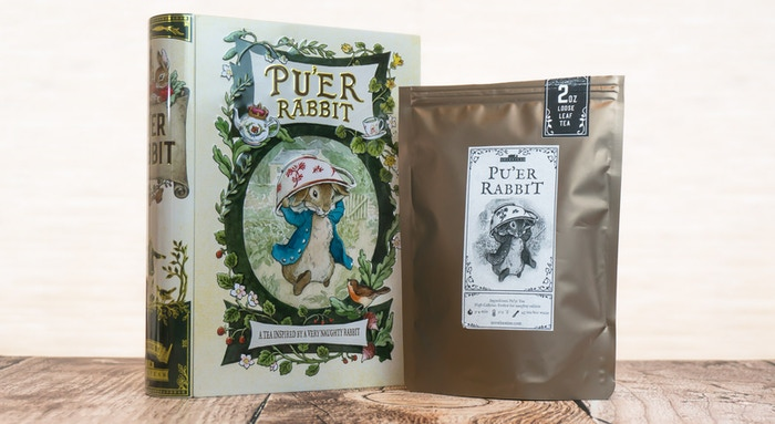 Final Puer Rabbit Tin and Prototype Tea Pouch. Final label will be in color.