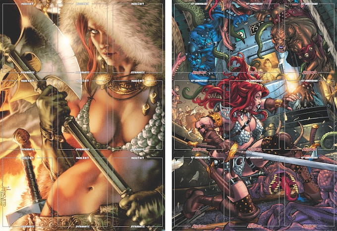 9 possible puzzle cards assemble to form 2 large Red Sonja images, front and back!