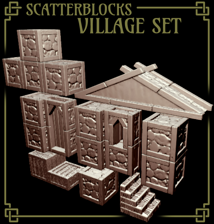 The ScatterBlocks Village terrain set, included with the Bürgermeister ($35) pledge level.