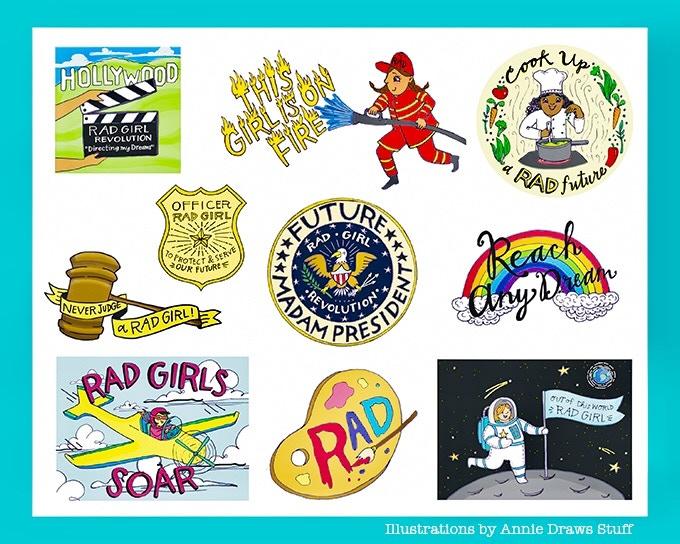 "9.75 x 7.75"" Sticker Sheet with 10 ""Rad Girl"" Stickers"