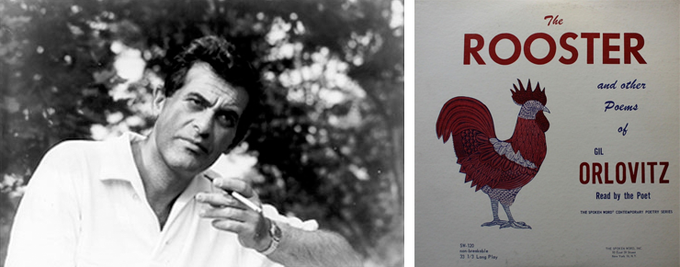 "Photo of Gil Orlovitz by Victor Laredo and cover of his spoken word LP, ""The Rooster and Other Poems"" (1960)"