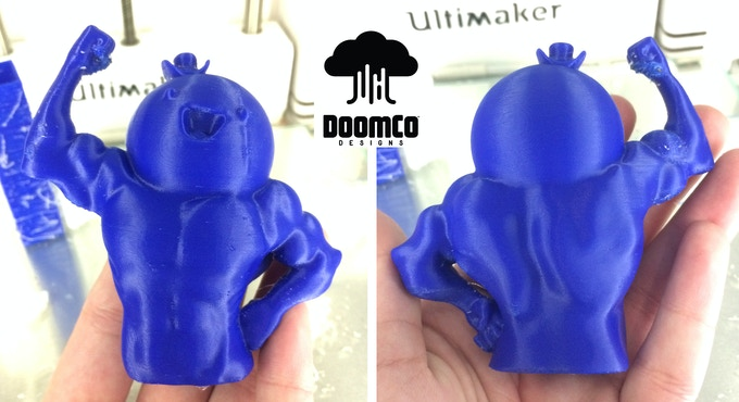 3-D Print of the DoomCo Designs 3-D Sculpt. To be smoothed and then resin cast by ManOrMonster? Studios in a variety of colors.