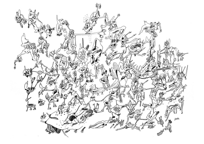 doodle drawing 70x100cm