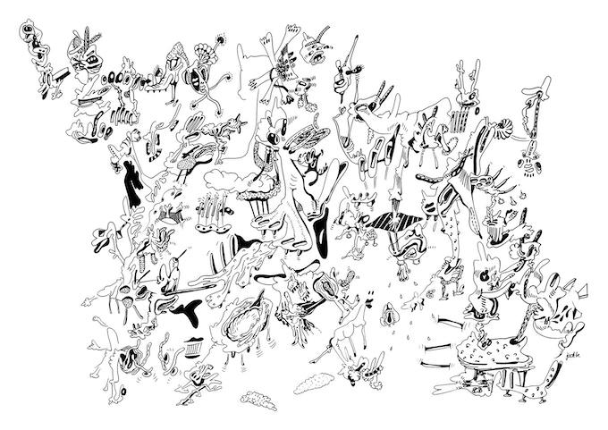 doodle drawing 70x100cm C
