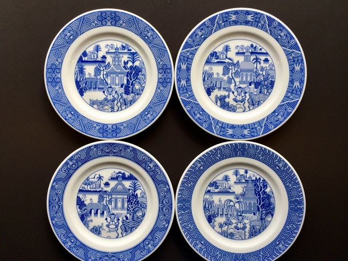 Four different musicians and four different borders mean you'll never get bored looking at the same old plate.