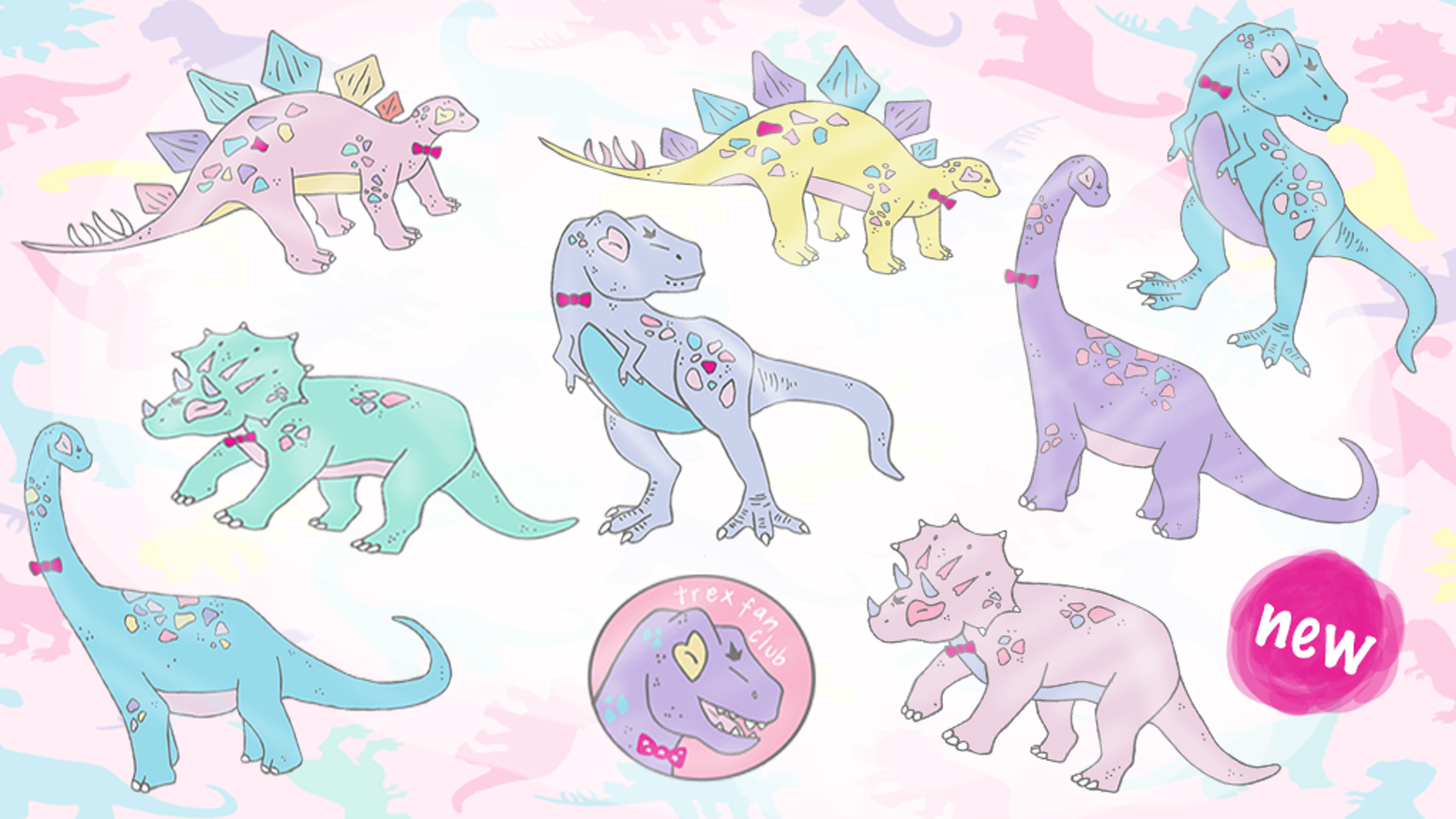 0247b2586b41 A T-Riffic collection of Dapper Dinosaur colourful Enamel Pins and  accesories Stretch goals unlock