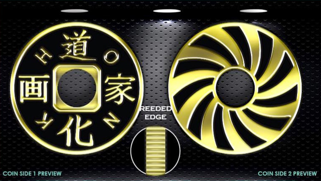 High Contrast Golden Chinese Coin With Hole and Reeded Edge project video thumbnail