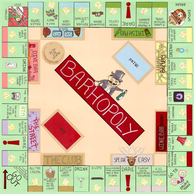 Shared Board Cause To Pause: Barhopoly: THE Drinking Board Game By Lex Larson