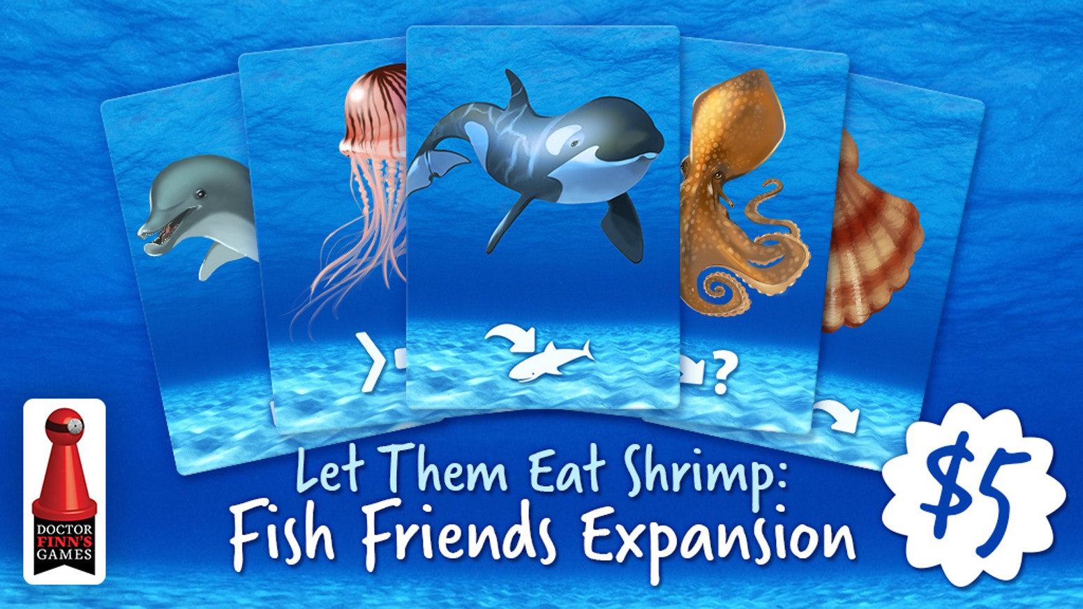 A special campaign for Kickstarter exclusive expansion packs for Let Them Eat Shrimp from the designer of Biblios and Herbaceous.