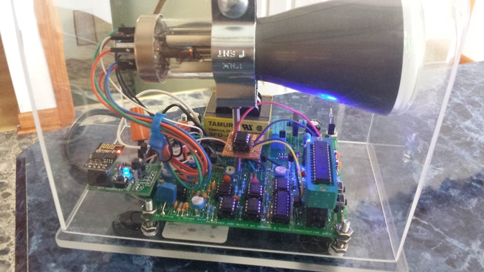 A close up of the prototype showing the added microcontroller and wifi module.
