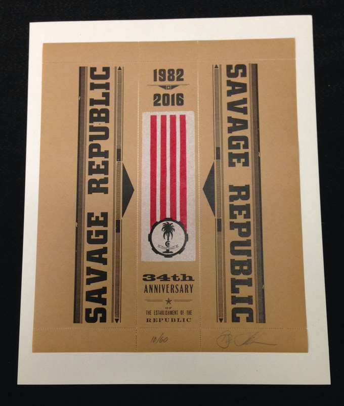SAVAGE REPUBLIC 34th Anniversary of The Establishment of The Republic signed and numbered perforated print on gummed kraft paper stock - available at a $45 reward level