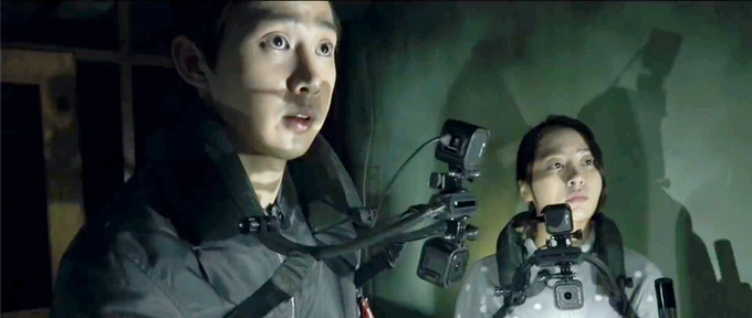 2 GoPro Hero Session cameras are mounted vertically to capture POV footage and selfie videos of the actors in Gonjiam: Haunted Asylum