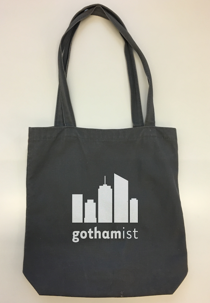 The brand new Gothamist Tote. Gray canvas with logo.