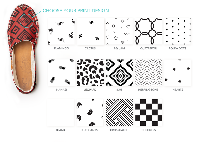Choose from 13 silk-screened patterns, or choose no pattern at all!