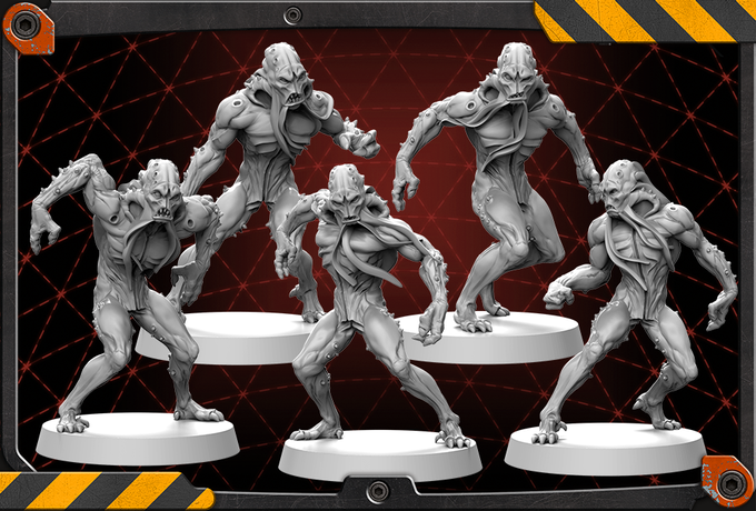 Xeno Worker figures 3D renders.