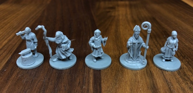 Blacksmith, Soothsayer, Bourgeois, Bishop & Merchant Girl (from left to right)