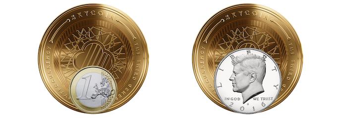 Collectable coin compared to a 1 euro coin and half a dollar coin