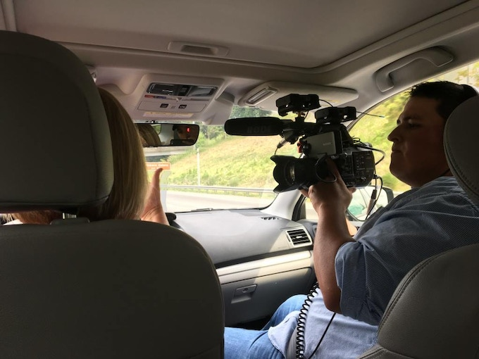 Co-Director Dominic Silva films neonatal home nurse Joanna Christoph as she heads to visit a family impacted by opioid exposure