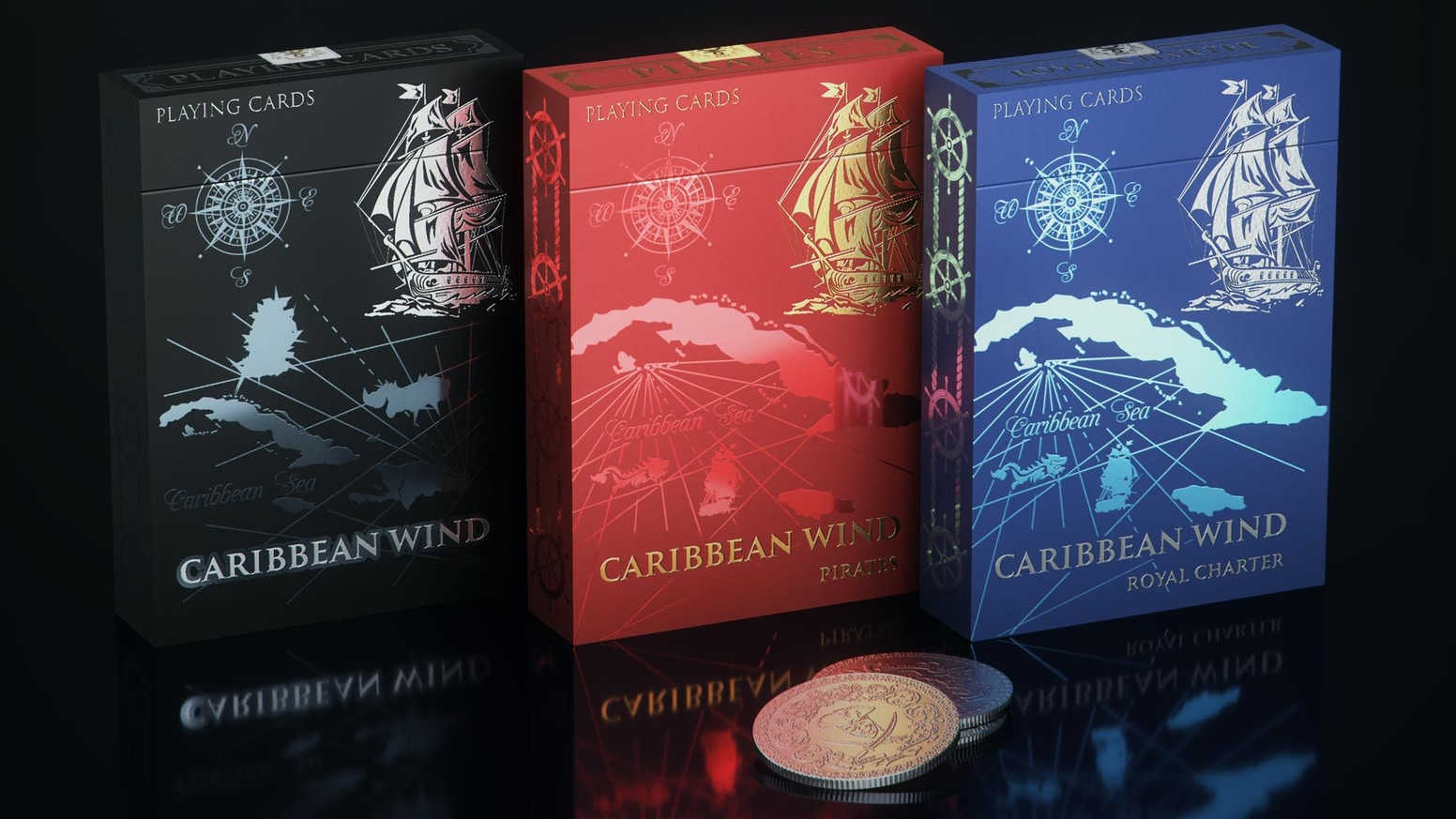 "Playing cards inspired from the Golden Age of Piracy. ""Caribbean Wind"", it continues the SVI series playing cards printed by SPCC."