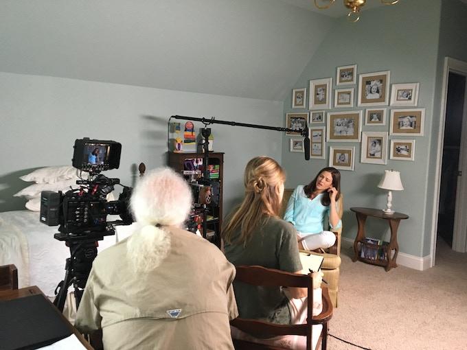On set with Caroline Malatesta