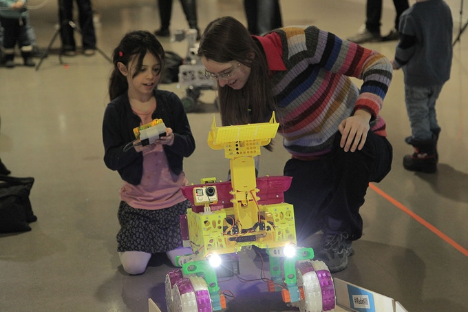 Engaging participants with the robot in action at a workshop at the Canada Science and Technology Museum - Feb. 2018