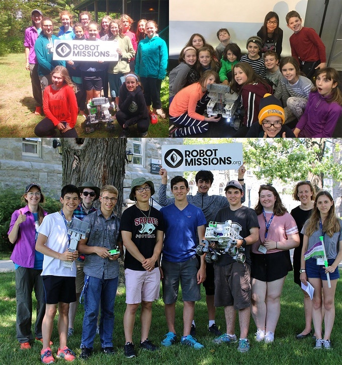Top left: Eastern Ontario & Nova Scotia Girl Guides Unit. Top right: Sydenham Public School workshop. Bottom: SHAD at Queen's University workshop.