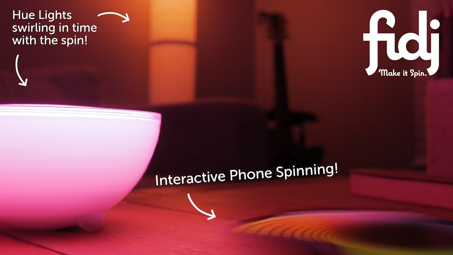 Make it Spin! The Fidj is a restickable gadget turning your phone into an app-enabled spinning machine. It even syncs to smart devices!