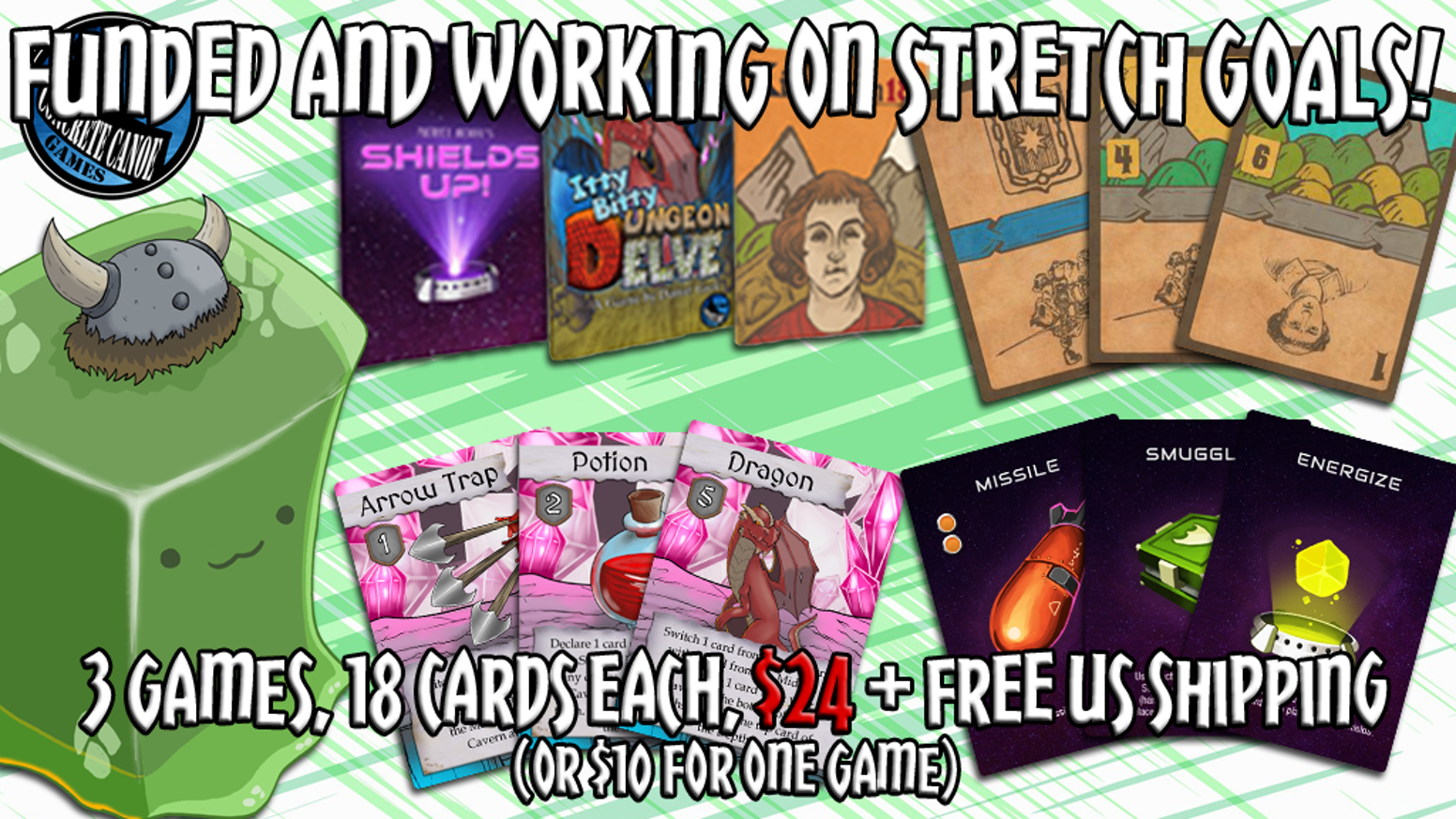 Three strategic, 18 card games for game night at home or on the go. Micro-deck building, hidden information, and ship commanding fun!