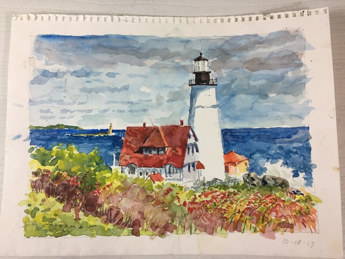 Lighthouse Watercolor Painting by Bill Woodman