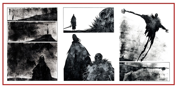 Interior painted pages for The Thousand Demon Tree by Jeffrey Alan Love.