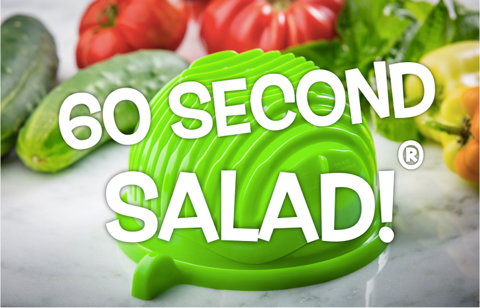 Making fresh, healthy salads is a chore no more! Rinse, chop and serve almost any salad in seconds with 60 Second Salad Maker!