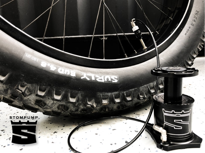 Inflating a Fat-Bike tire 3 times faster than a handpump.