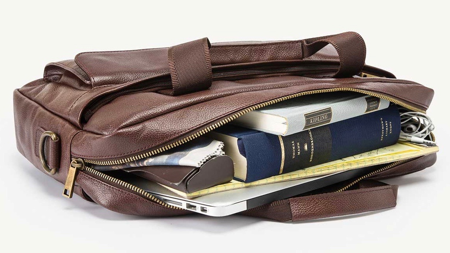 An awesome, highly functional, well-designed leather briefcase, at a great price.